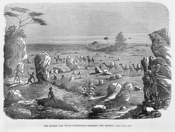 Burke and Wills expedition crossing the desert